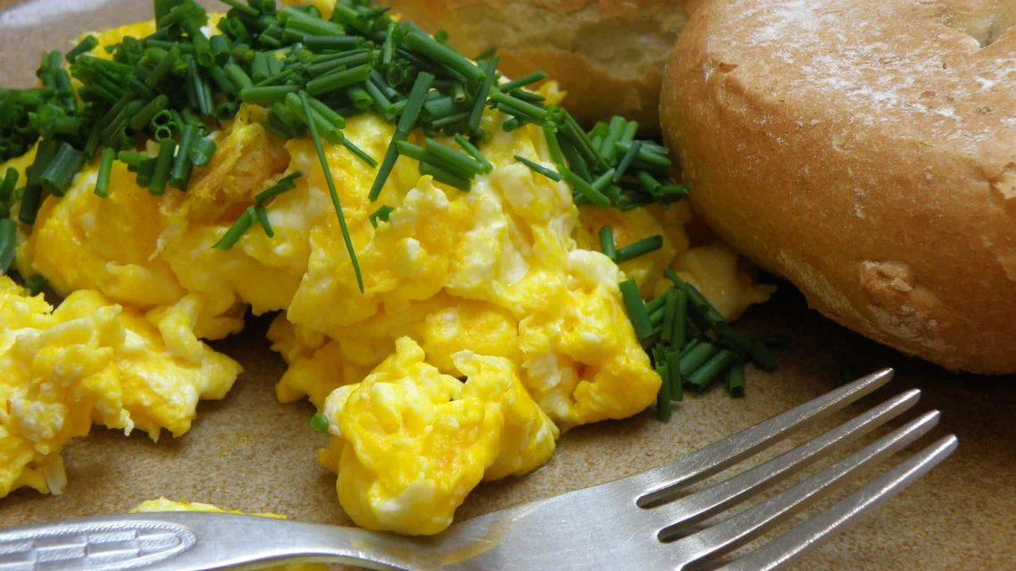 Une assiette d'œufs brouillés